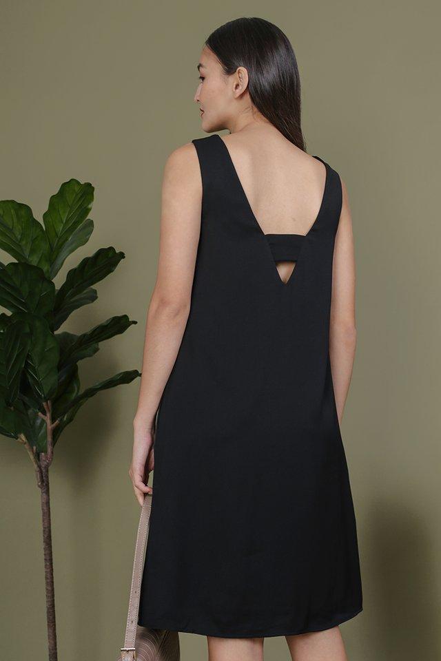 Miranda Button V Back Dress (Black)