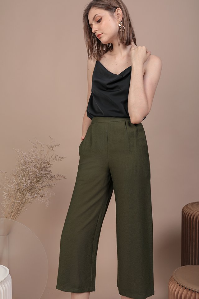 Dione Linen Culottes (Olive)
