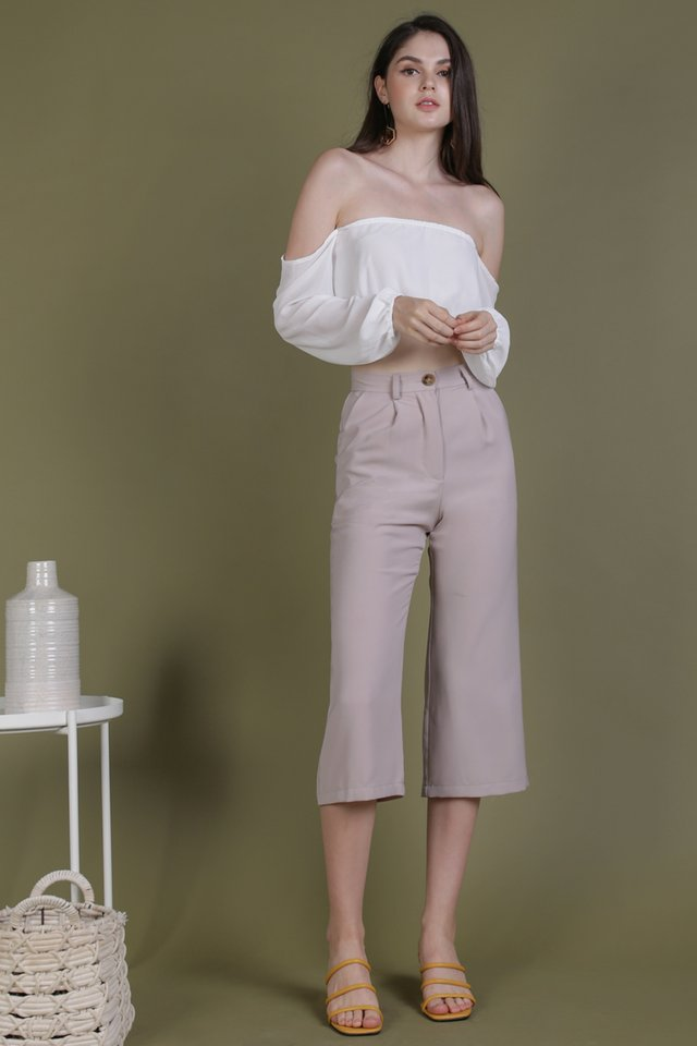 Olivia Drop Shoulder Top (White)