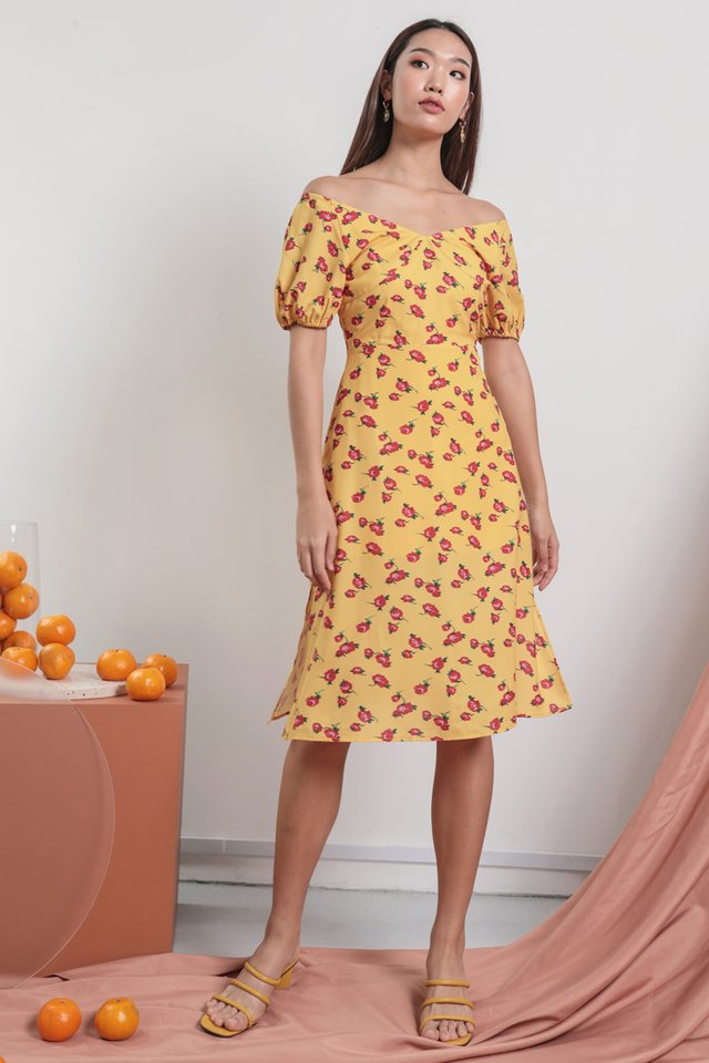 Belle Puffy Sleeve Dress (Roses)