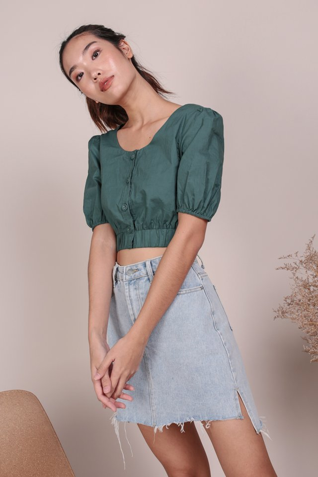 Monica Puffy Sleeve Top (Slate Green)