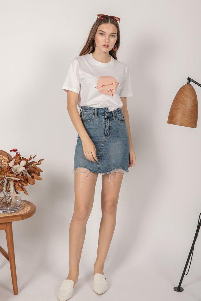 Lex Ripped Denim Skirt