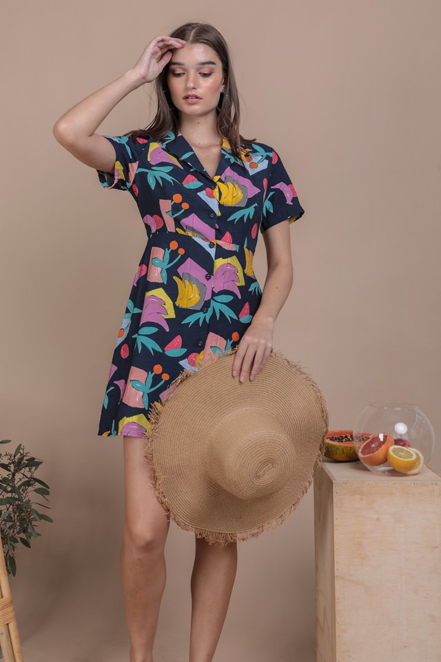 Potts Collared Dress (Navy Tropical)