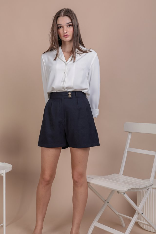 Oda Button Shorts (Navy)