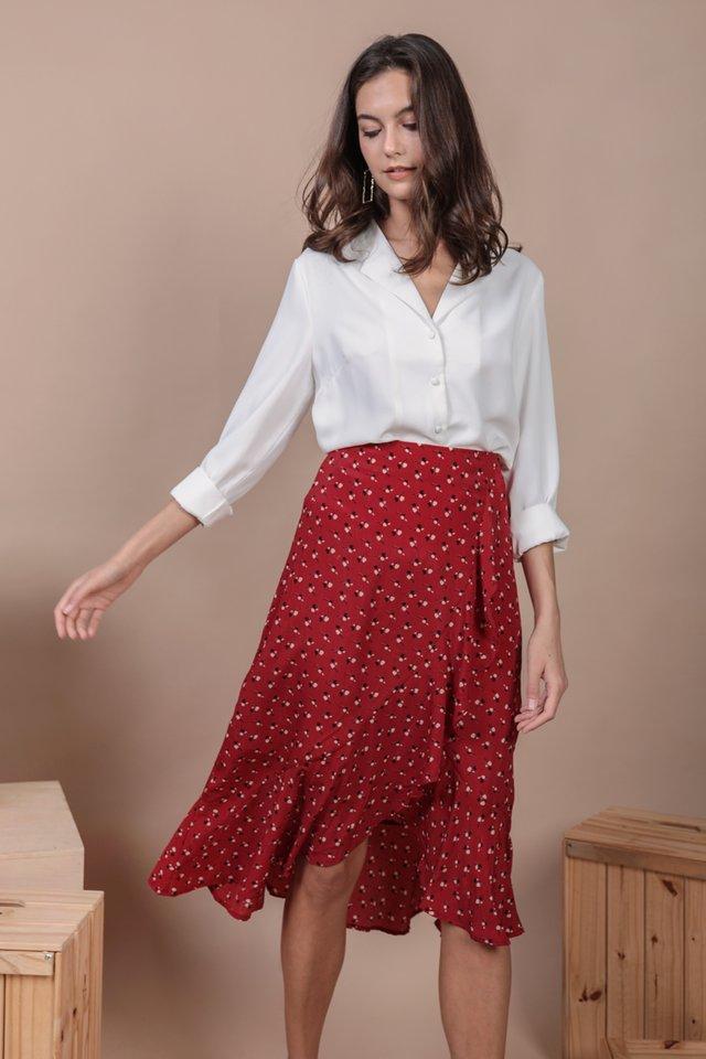 Destiny Ruffles Skirt (Red Rosebuds)