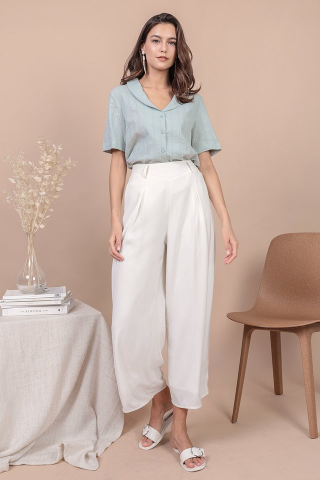 Oliver Collared Blouse (Seafoam Embroidery)