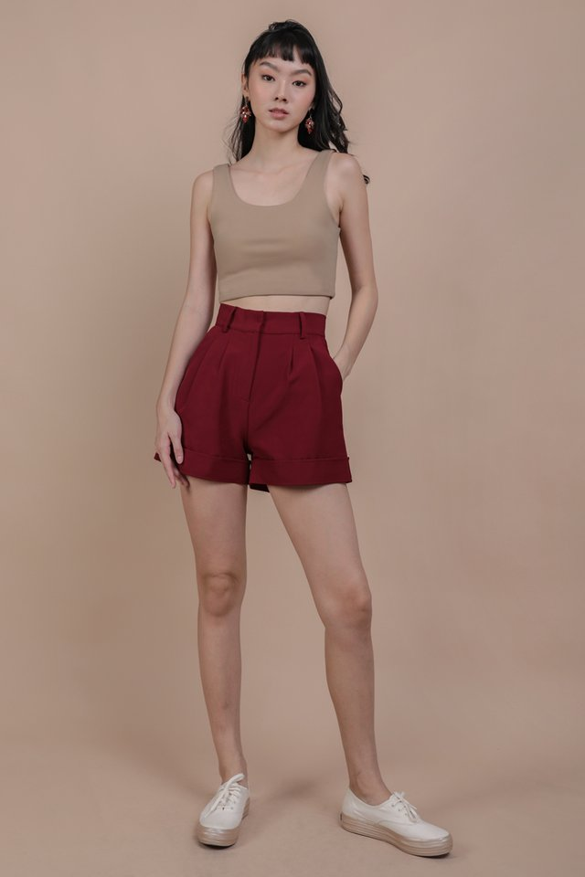 Brook Tailored Shorts (Maroon)