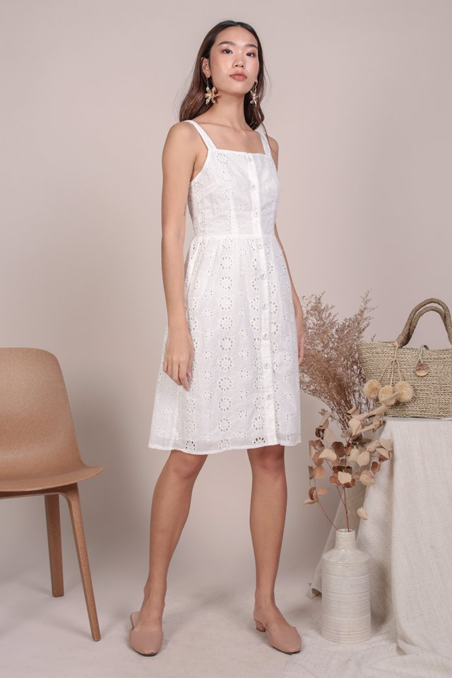 Laurie Button Down Dress (White Eyelet)