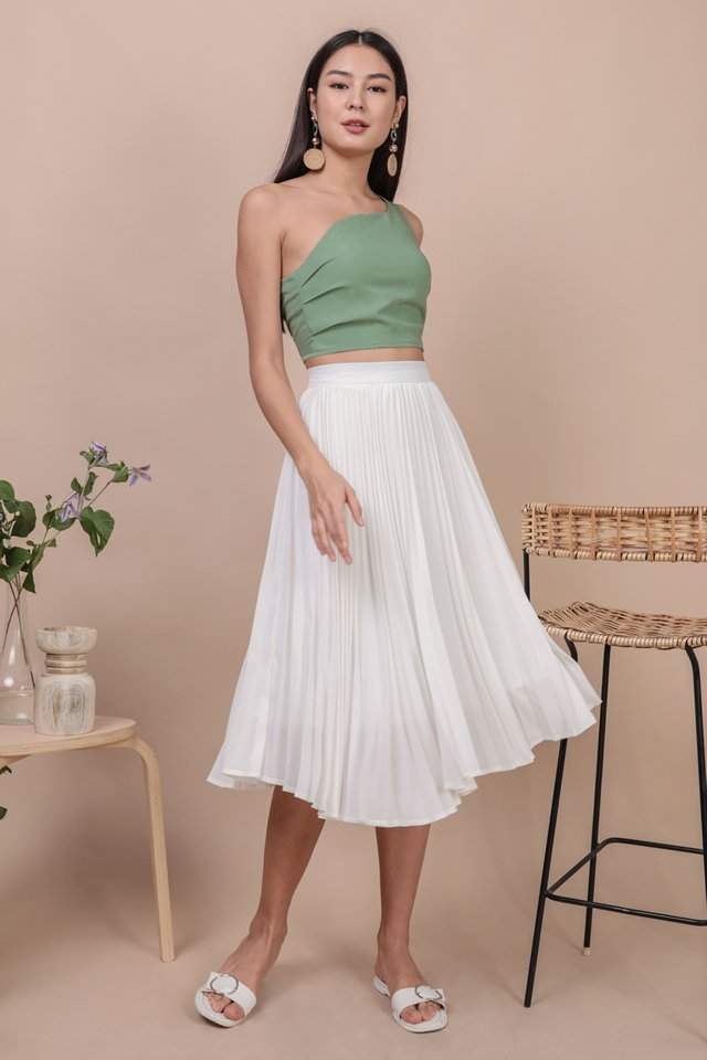 Courtney Pleated Midi Skirt (White)