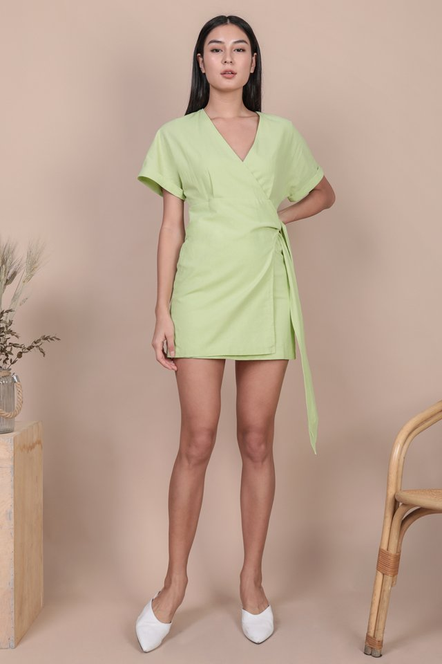 Callie Wrap Front Dress (Apple Green)