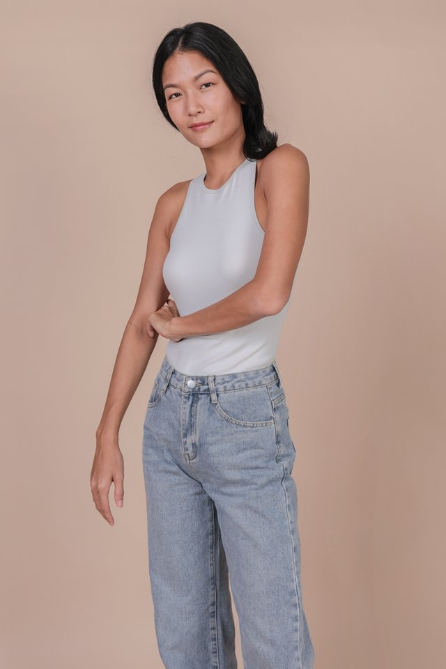 Maddy Racercut Bodysuit (Light Grey)