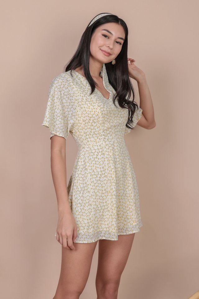 Maurice Flare Sleeve Romper (Yellow Blooms)