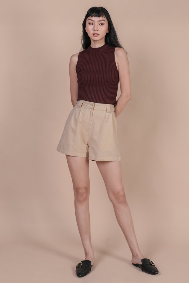Kira High Neck Top (Maroon)