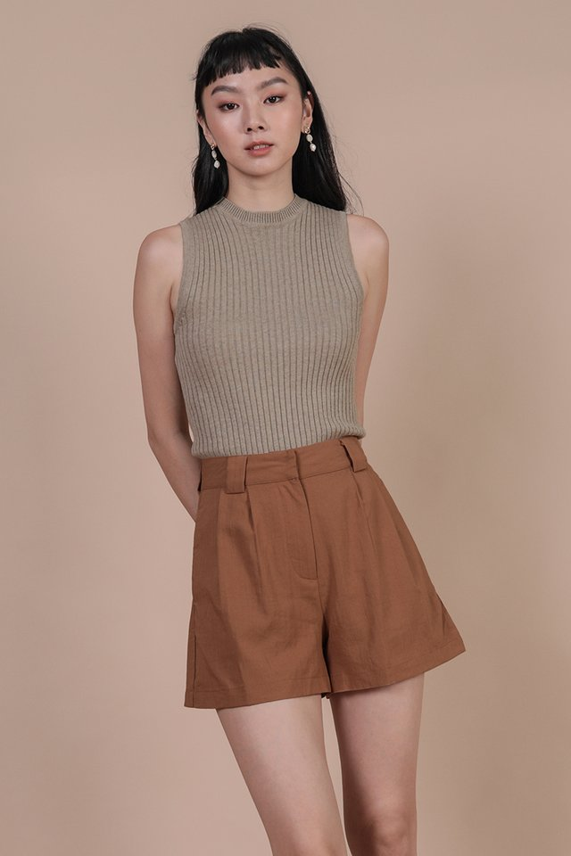 Kira High Neck Top (Wheat)