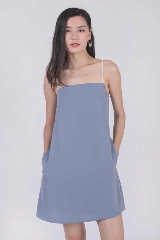 Alfie Contrast Strap Dress (Dusty Blue)