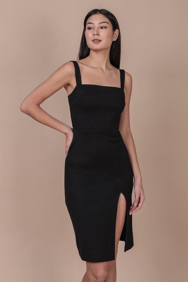 Caris Midi Dress (Black)