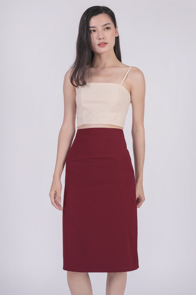 Martha Midi Skirt (Maroon)