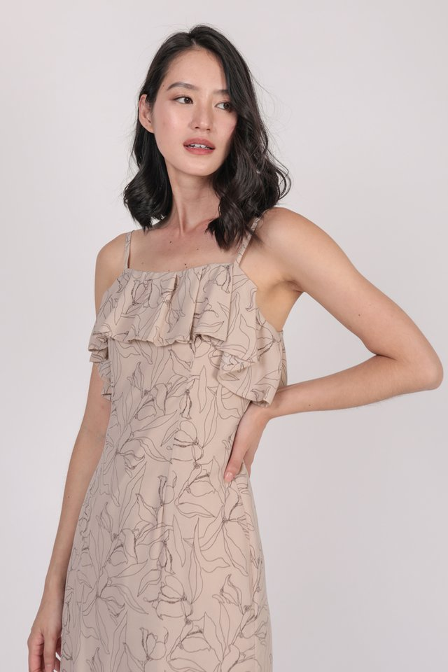 Kerin Ruffles Dress (Nude Florals)