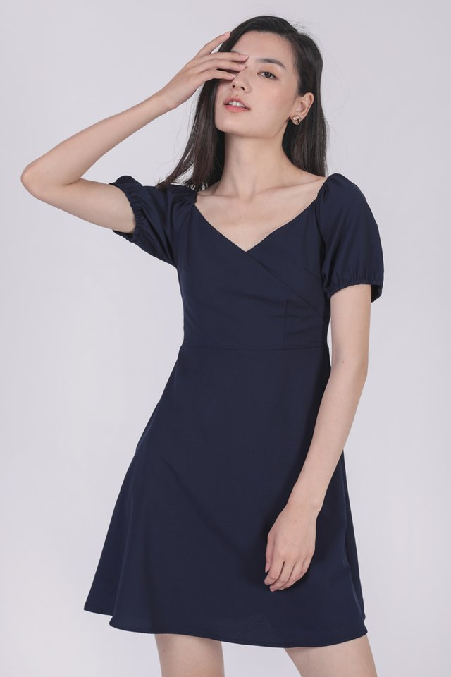 Trisha Puffy Sleeve Dress (Navy)