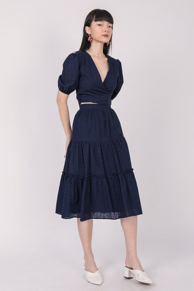 Beverly Tiered Skirt (Navy Eyelet)