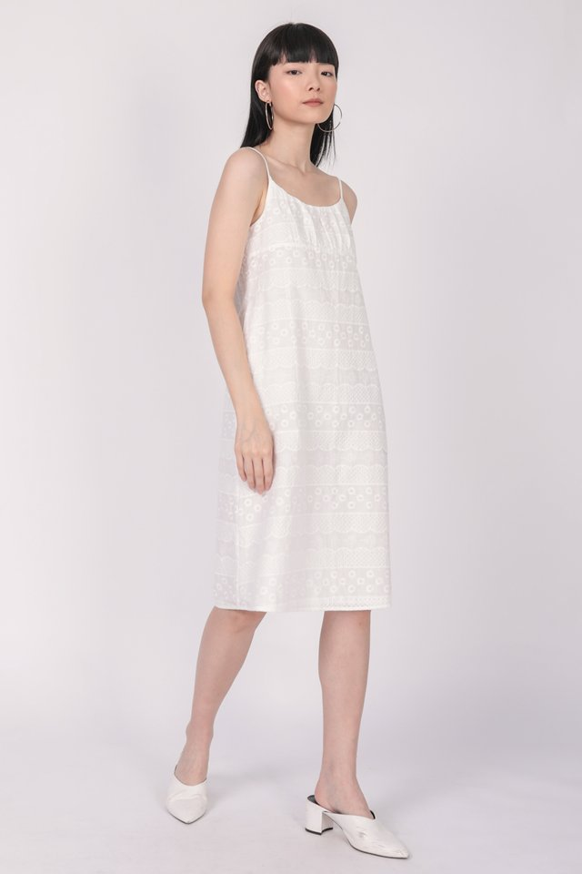 Medina Midi Dress (White Embroidery)