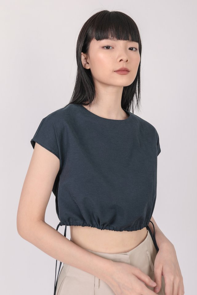 Ray Drawstring Top (Navy)