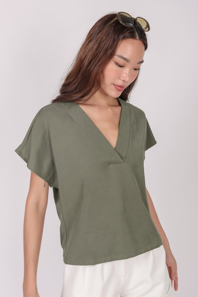 Laurent Sleeved Top (Olive) - Preview